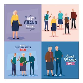 행복 한 조부모의 날 벡터 디자인에 할머니와 할아버지