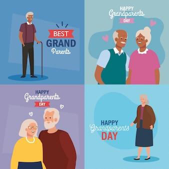 행복 한 조부모의 날 벡터 디자인에 할머니와 할아버지 프리미엄 벡터