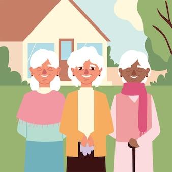 Grandmothers cartoon portrait