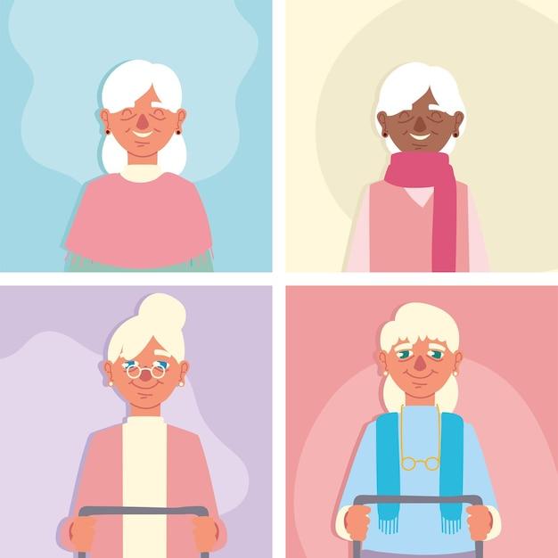 Grandmothers cartoon set