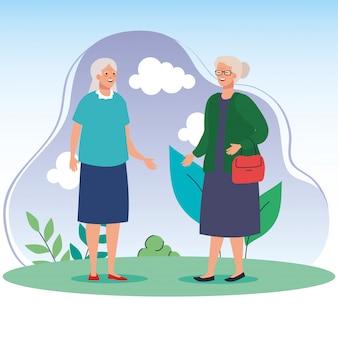 Grandmothers at park vector design