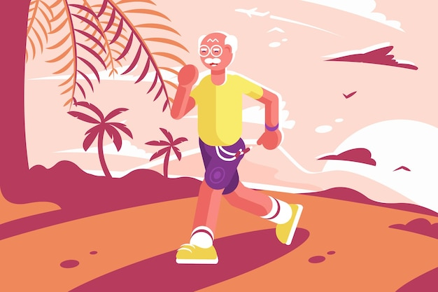 海辺で走っているスポーツスーツのおじいちゃん