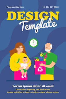 Grandpa giving bag of fruit to new mom and baby template