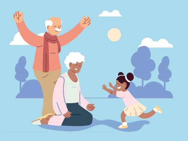 Grandpa and grandma with granddaughter, happy grandparents day