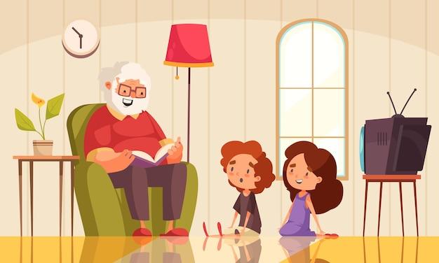 Grandpa reading a book illustration with grandchildren listening flat