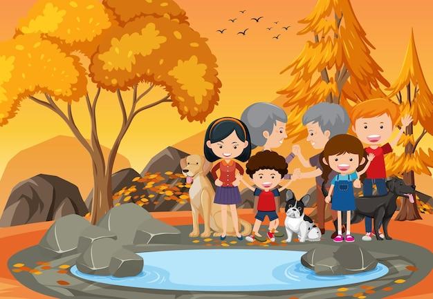 公園の祖父母と子供たち