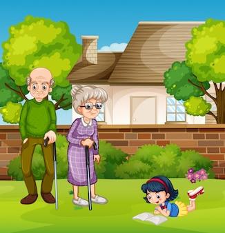 祖父母と女の子ourdoor