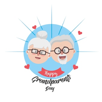 Grandparent face with glasses and hairstyle