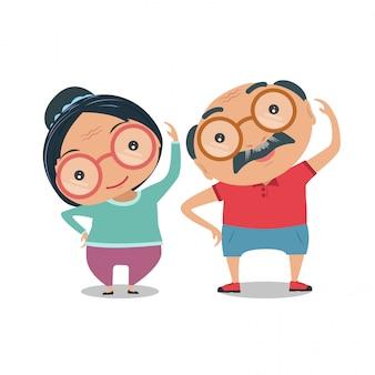 조부모, 노인은 신체적으로 건강하고 건강합니다. 벡터 및 그림.