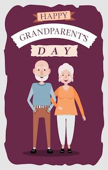 평면 스타일의 조부모의 날 카드