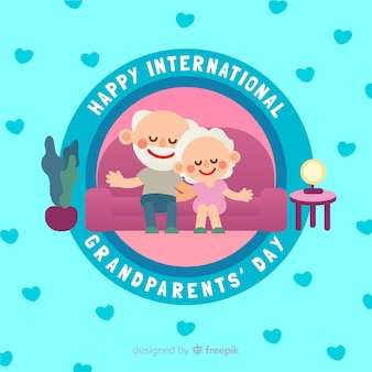 Grandparent's day composition with flat design