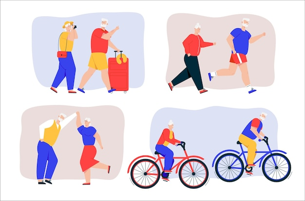 Grandparents active lifestyle scenes set. vector character illustration of elderly couple travels together, jogging, dancing, riding bicycles