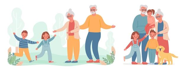 조부모와 손자. 아이는 늙은 할머니와 할아버지를 방문하기 위해 달린다. 행복한 할머니, 할아버지, 어린이 가족 벡터 초상화. 아이, 손자와 그림 할머니 할머니