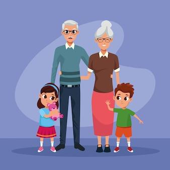 조부모와 손자 아이 만화