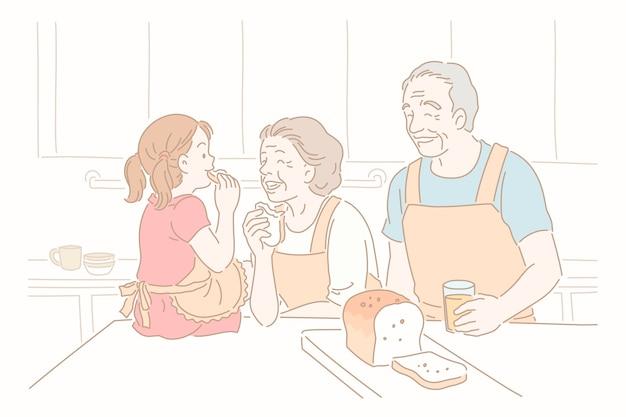조부모와 선 스타일의 부엌에서 토스트를 먹는 아이