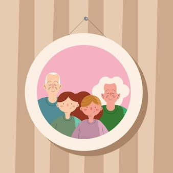 그림에 매달려 있는 조부모와 아이들