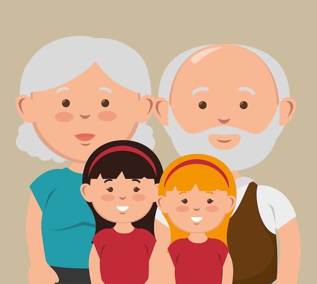 조부모와 손자 함께 포즈