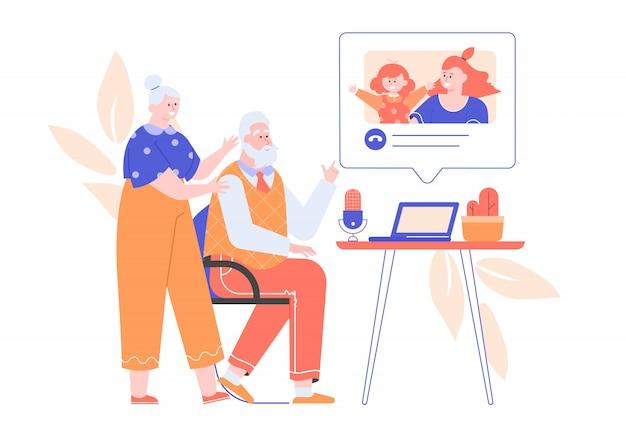 Бабушка и дедушка вызывают дочь и внучку с ноутбука. онлайн чат, видеозвонок, удаленное общение с родственниками. семья вместе. карантин и самоизоляция. квартира.