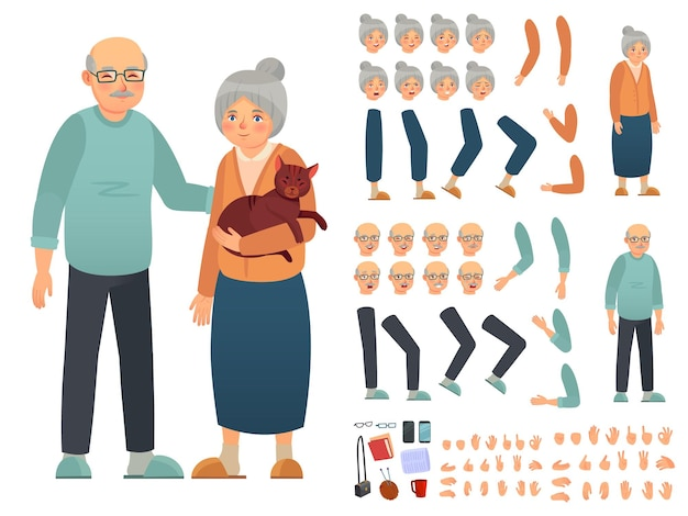Grandparents characters constructor. creation kit with different facial emotions, hand gestures and accessories. grandmother and grandfather custom animation set vector illustration
