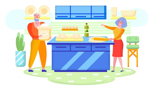 Grandparents cooking together at home flat vector