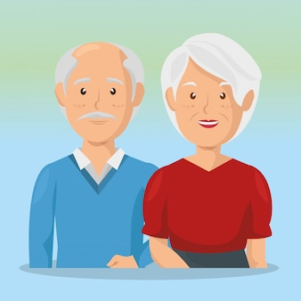 Grandparents couple avatars characters