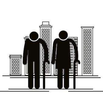 Grandparents couple avatars silhouettes