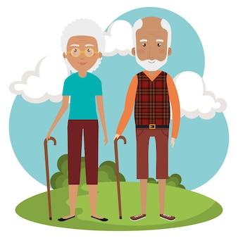 公園のアバターで祖父母のカップル