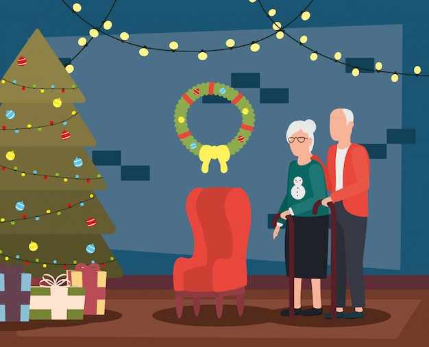 Grandparents couple in living room with christmas decoration