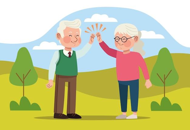 조부모 부부 자연 현장
