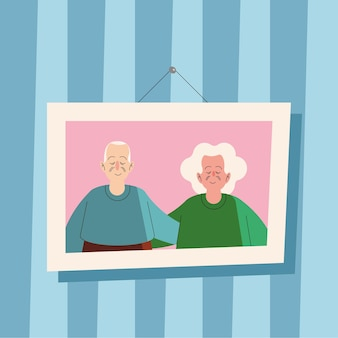 Grandparents couple in picture characters