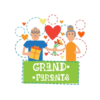Grandparents couple together happy grandmother and grandfather day greeting card banner