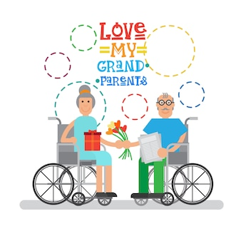 Grandparents couple on wheel chair happy grandmother and grandfather day greeting card banner