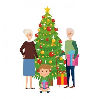 Пара бабушек и дедушек с внуком и елкой