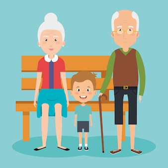 Grandparents couple with grandson avatars characters