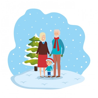 Grandparents couple with grandson in snowscape