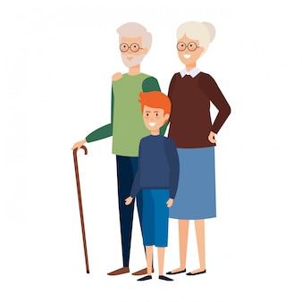 Grandparents couple with grandson