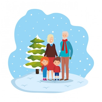 Grandparents couple with kids in snowscape