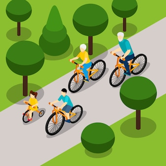 Grandparents cycling with children isometric banner