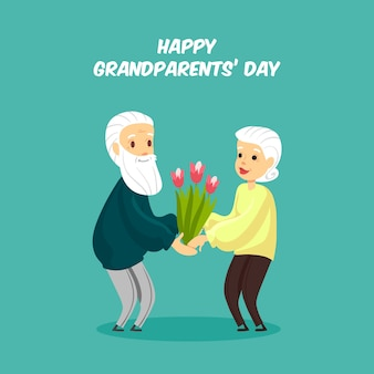 Grandparents day background in flat style