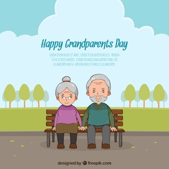 Grandparents day background with couple in the park