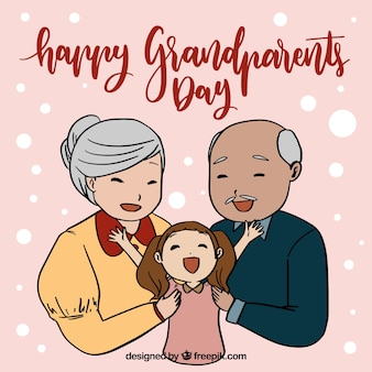 Grandparents day background with granddaughter