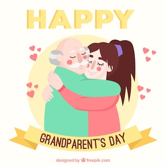 Grandparents day background with a tender hug