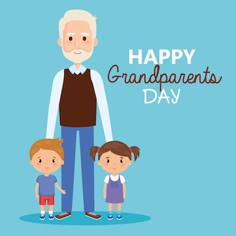 Grandparents day card with grandpa and geandchildren