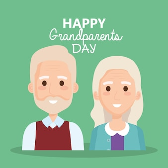 Grandparents day celebration with couple characters