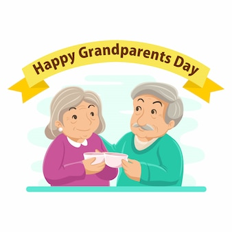 조부모의 날 평면 디자인 일러스트 레이 션. 할아버지와 할머니가 함께 커피를 마신다