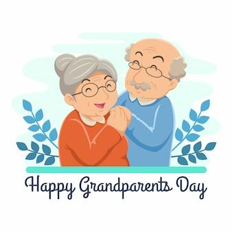 祖父母の日フラットデザインイラスト。おじいちゃんとおばあちゃんを抱いて