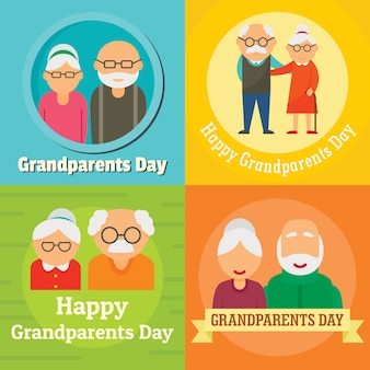 Grandparents day granny concept set, flat style