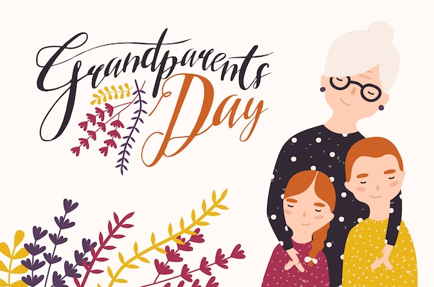 Grandparents day greeting card template with cute grandmother and grandchildren