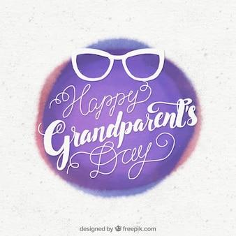 조부모의 날 빈티지 수채화 배경 안경