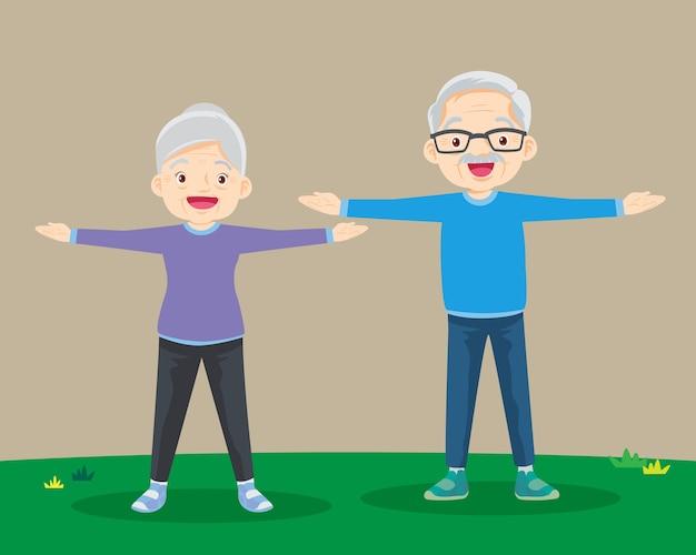 Бабушка и дедушка делают упражнения. пожилая пара.